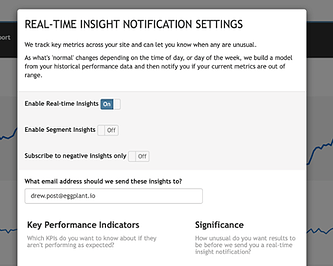 Settings for real-time insights